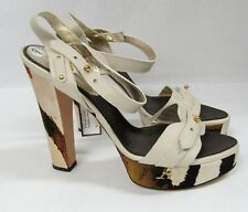 NWT ROBERTO CAVALLI PRINTED TWO TOWN SATIN PEBBLE LEATHER HEELED SANDALS 9