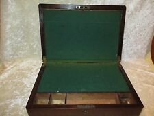 Antique Vintge Wood Portable Travel Writing Lap Desk/Document Box w/Brass Inlaid