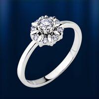 Russische Weißgold 585 HALO Ring mit Diamanten 0.25 Ct  G-H VVS/VS Neu Glänzend