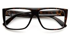 c5bdc712e4 Flat Top Aviator Eyeglasses Rectangular Clear Lens Brown Retro Style