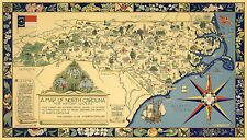 Early Pictorial Map of North Carolina for Nature Lovers Wall Art Poster Print