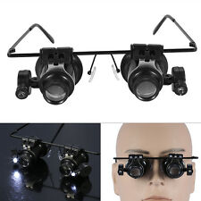 20Lens Magnifier Magnifying Eye Glass Loupe Jeweler Watch Repair with LED Light