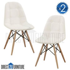 2*WHITE Retro Replica Eames DSW Dining Chairs PU Leather Padded Seat Cafe Office