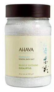 AHAVA Dead Sea Mineral Bath Salt Muscle Soothing Eucalyptus 32 oz / 907 g