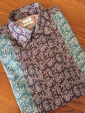 PAUL SMITH PURPLE PIECED PAISLEY PRINT SHORT SLEEVE SHIRT SIZE L MADE IN ITALY