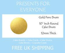 """10 x 10"""" Inch Round Gold Wedding Birthday Cake Drum / Board 12mm"""