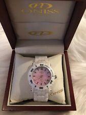 Oniss Paris Oversized HI TECH whitr  Ceramic pink dial swiss Watch NIb