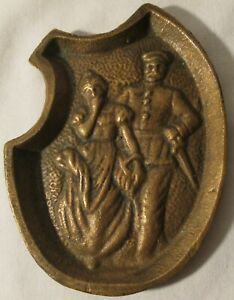 Vintage BRASS Ashtray or Dish-RISQUE-Solider and Girl-Two Sided-Unmarked