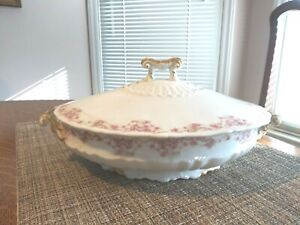 """Vintage Theodore Haviland Oval Serving w/Lid, VGC, 9.5""""x7.5""""White/Pink/Green"""