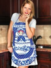 Nesting Doll Kitchen Apron 100% Natural Cotton Made Russia Matryoshka Gzhel