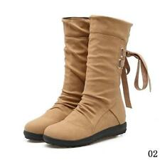 New Fashion PU Boots Women Autumn Winter Boots Mid-Calf Solid Elegant Flat Heels