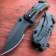Military BLACK POLICE Spring Open Assisted LED Tactical Rescue Pocket Knife NEW!