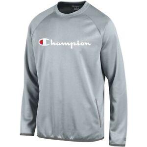 Champion Script Logo Men's Grey Convergence Crew Performance Fleece