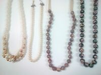 Vintage Napier pearl-bead necklace, 925 painted beads, swirl beaded necklace