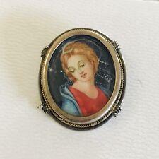 Vintage ANTIQUE Hand Painted PORTRAIT CAMEO LADY BROOCH PENDANT Silver 800