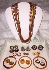 Vintage Plastic Jewelry Lot 13 Pcs Tortoise Rootbeer Amber Bakelite