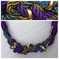 Vintage Belt Carolyn Tanner Designs Purple Gold Braided Knotted Art Piece