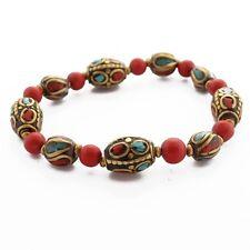 "Turquoise Coral Brass Bracelet 7"" Tibetan Nepalese Handmade Nepal BR895"