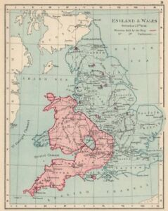 ENGLISH CIVIL WAR NOV 1644.King(red)Parliament(blue).Battles/dates 1907 map
