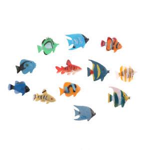12 pcs Mini Tropical Ocean Fish Toy Gift Sea Life Model Pool Education Toy FI