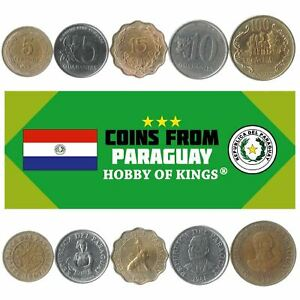 5 DIFFERENT COINS FROM PARAGUAY. GUARANI, CENTIMOS MONEY. COLLECTIBLE CURRENCY