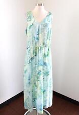J Jill Blue Green White Tie Dye Sleeveless Maxi Dress Size L Silk Casual Midi