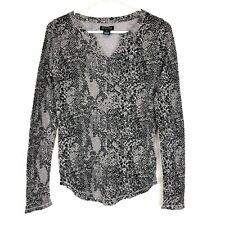 Lucky Brand Thermal Shirt Women's Size Medium Knit Wear Snake Print Long Sleeve