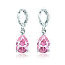 HUCHE Cute Pink Sapphire Gemstone Dangle Silver Lady Party Wedding Hoop Earrings
