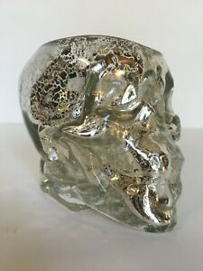 POTTERY BARN MERCURY GLASS SKULL VOTIVE CANDLE HOLDER CUP HALLOWEEN NEW RARE