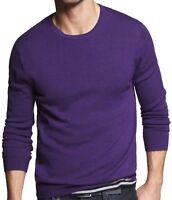New EXPRESS Men's Crew Neck Wool Sweater, NWT【XL】【$70】 (Slim Ribbed Merino Wool)
