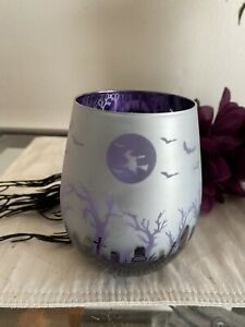Halloween Witch, Bats Spooky Glass Stemless Wine Glass Patterned Purple Chrome