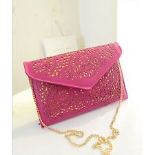 Pink Hollow Out Envelope Clutch Bag With Chain Evening Shoulder Handbag HB003