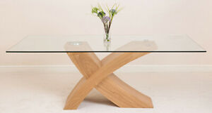 Valencia Oak 200 cm Large Glass Dining Table 8 Seater Criss Cross Dining Table