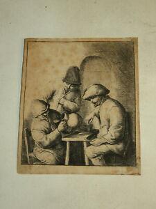 Adriaen VAN OSTADE (1610-1685) GRAVURE ORIGINALE CRUCHE VIDE HOLLANDE 1660 H29