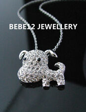 Pendant Necklace/White gold/Rgn230 Simulated Diamond Puppy/Dog/Animal