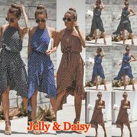 Summer Beach Womens Halterneck Polka Dot Irregular Dress Ladies Holiday Sundress