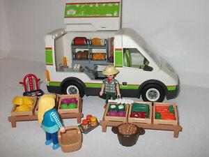 Playmobil Van Wochenmarktverkäufer Marktstand Figuren Obst Fleisch Wurst Gemüse