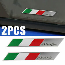 2PCS Car Italy Flag Logo Italian Metal Emblem Stickers Side Fender Badge Decal