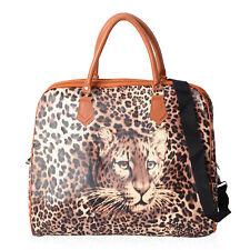 Brown Beige Faux Leather Leopard Pattern Duffel Bag Detachable Shoulder Strap