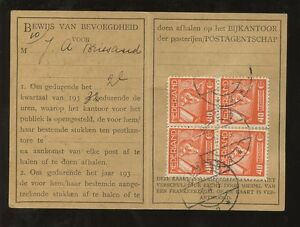 NETHERLANDS 1930s POST OFFICE IDENTITY CARD...BRIESAUD