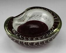 Italian Art Glass Bowl Murano Glass Mid Century Modern Deep red Bubbles encased