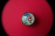 19th C GLASS BUTTON Reverse Painted ROSE DAISY IRIS
