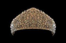 Silver Handmade Solid Bridal Tiara made with Swarovski Crystal Clear AB Beads
