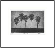 Hand pulled palm tree print, etching, aquatint, silk collograph, silk mezzotint