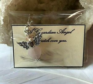 Healing crystal guardian Angel Love & Happiness Keyring Charm Heart Chakra Gift