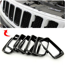 7pcs Car ABS Black Front Grille Vent Hole Ring Frame Fit For Jeep Compass 11-16