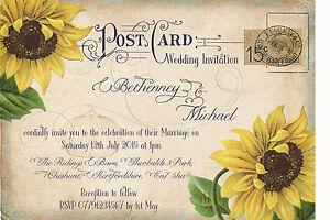 PERSONALISED VINTAGE POSTCARD SUNFLOWER WEDDING INVITATIONS PACKS OF 10