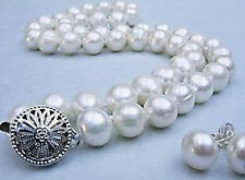 """Genuine 8-9mm Natural White Akoya Pearl Hand Knotted Necklace Earrings Set 18"""""""
