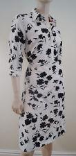 TOMMY HILFIGER White & Black Floral Signature Collared & Belted Shirt Dress UK8