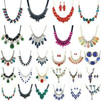 Women Crystal Chunky Pendant Statement Choker Bib Necklace Chain Fashion Jewelry